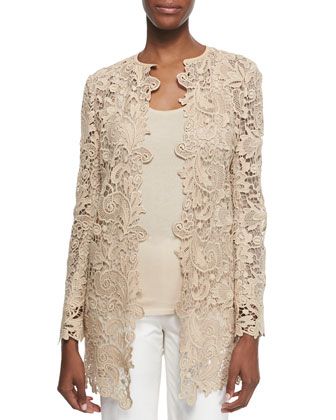 Thora Paisley Lace Short Coat, Honey