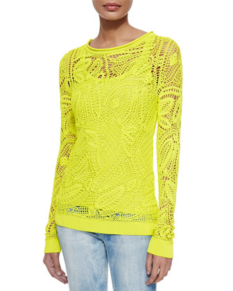 Clancy Floral Crochet Top, Chartreuse