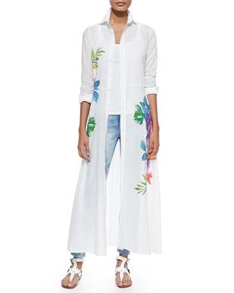 Adabella Floral-Print Shirtdress, White