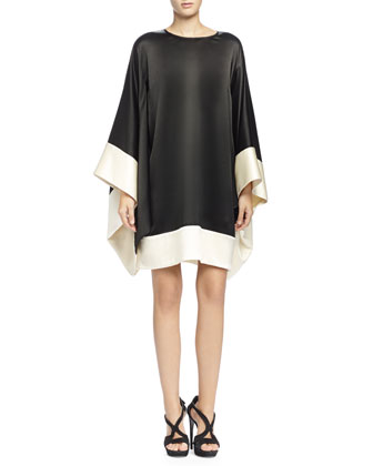 Colorblock Kimono-Sleeve Dress, Black/Bone