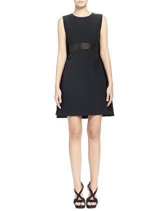 Jacquard-Inset Cape-Back Dress, Black