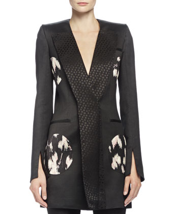 Floral-Print Circle-Detailed Jacket, Black Mix