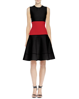 Colorblock Jacquard Fit-And-Flare Dress, Black/Red
