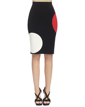 Knit Pencil Skirt in Maxi Dot Print