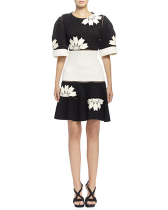 Two-Tone Floral-Print Matelasse Dress, Black/Bone