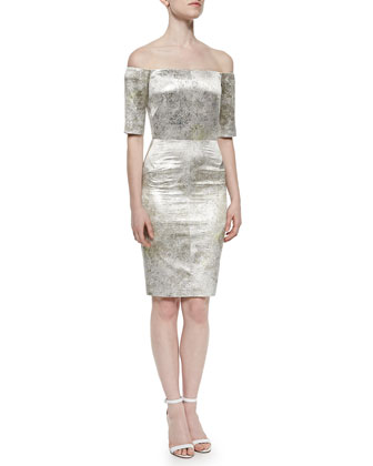 Off-the-Shoulder Metallic Sheath Dress, Aluminum