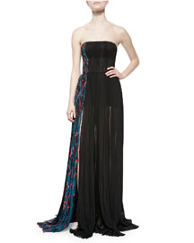 Side-Panel Strapless Silk Gown