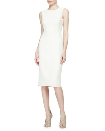 Woven Silk Pencil Dress, Ivory