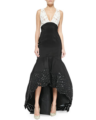 Colorblock Beaded-Eyelet High-Low Trumpet Gown, Black/Ivory