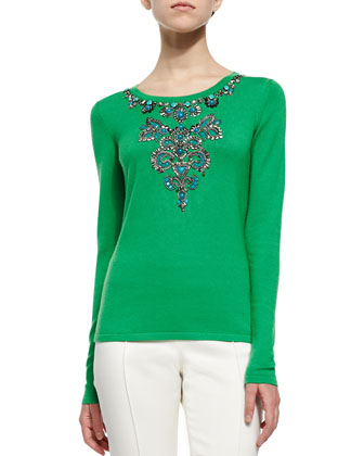 Jewel-Embellished Knit Sweater, Clover