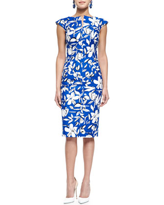 Floral-Print Bow-Back Pencil Dress, Cobalt