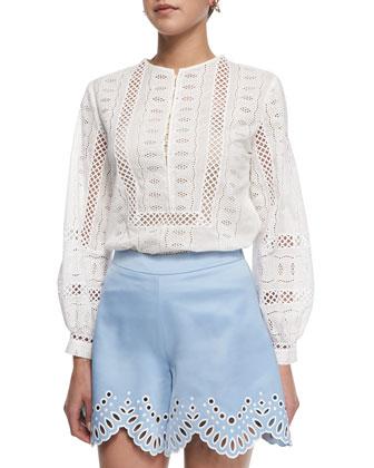 Medallion Crochet Voile Blouse, White