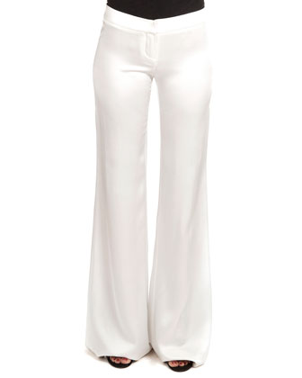 Flat-Front Flared Sateen Pants
