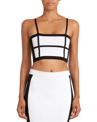 Cropped Grid-Pattern Knit Camisole