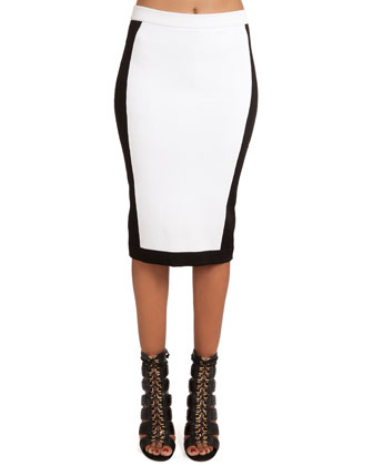 Colorblock Pull-On Slim Skirt