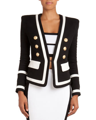 Nautical-Inspired Jacket with Golden Buttons