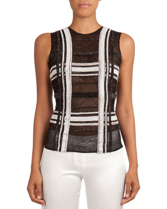 Sheer Beaded Grid-Pattern Top