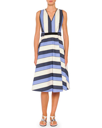 Belted Striped A-Line Dress, Blue Stripes