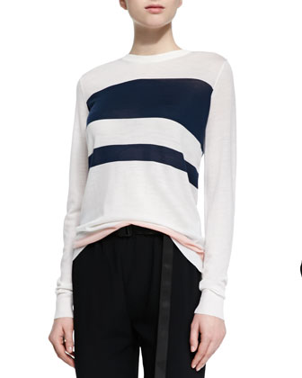 Colorblock Striped Wool Sweater, White/Navy/Nude