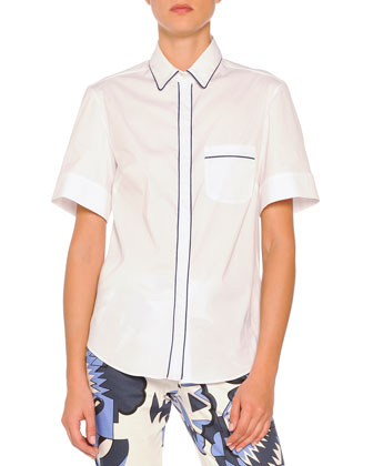 Short-Sleeve Contrast-Piped Blouse, White