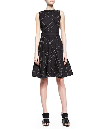 Two-Tone Plaid A-Line Dress, Black/White