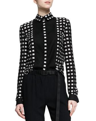 Square-Dotted Fil Coupe Button Blouse, Black/White