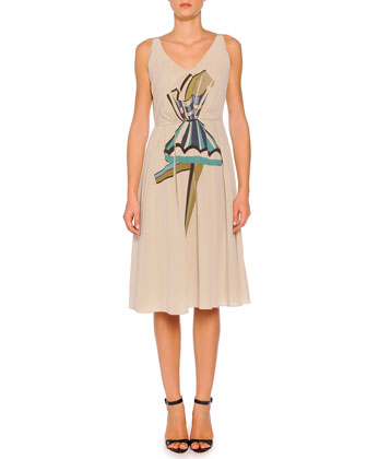 Silk Pleated Ballerina Print Dress, Taupe
