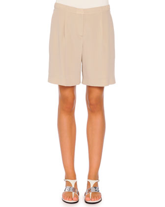 Pleated Relaxed Silk Shorts, Taupe
