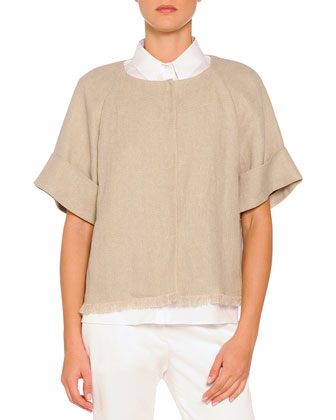 Short-Sleeve Fringe-Trimmed Jacket, Taupe
