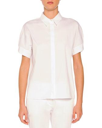 Short-Sleeve Pleated-Back Poplin Blouse, White