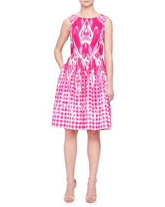 Ikat Gingham Fit-and-Flare Dress
