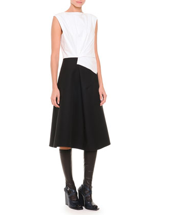Fold-Pleated Colorblock Fit-And-Flare Dress, White/Black