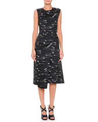 Asymmetric-Fold Slit-Back Fil Coupe Dress