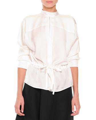 Slit-Back Drawstring Blouse, Ivory