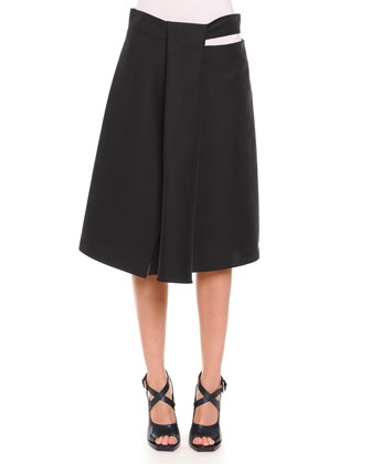 Slit Draped A-Line Skirt, Black