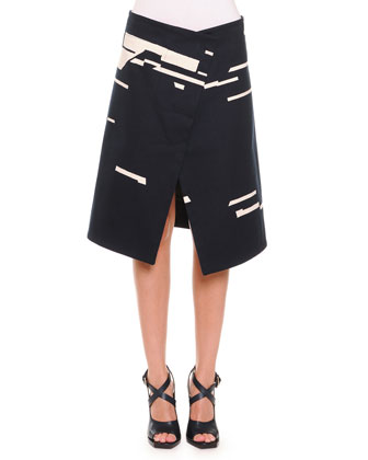 Broken Stripe-Print Asymmetric Skirt, Navy