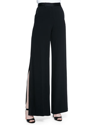 Wide-Leg Side-Slit Trouser, Black