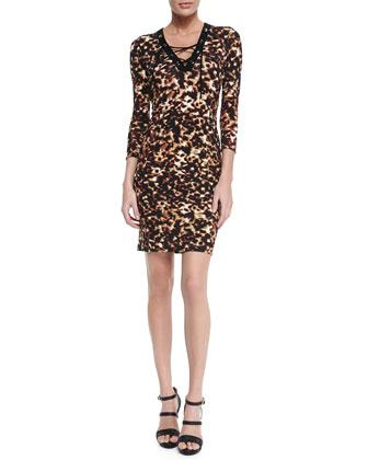 Lace-Up Tortoise-Print Sheath Dress