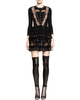 Studded Lace-Inset Mini Dress, Black