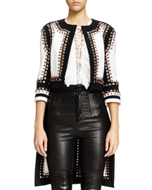 Nette Grommet Textured Paneled Jacket, Black/White