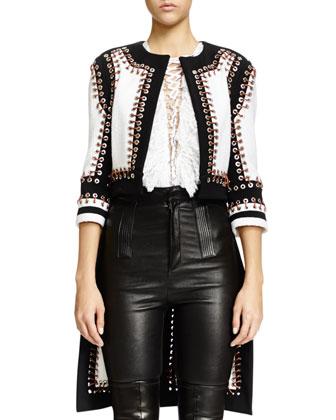 Nette Grommet Textured Paneled Jacket, Black/White
