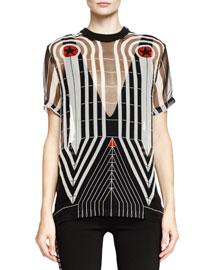 Line Target-Print Organza Tee, Black/White/Red