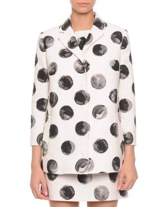 Painted Polka Dot Long Jacket, White/Black
