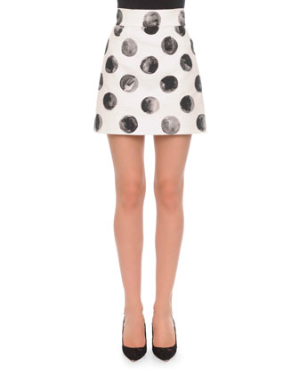 Painted Polka Dot A-Line Skirt, White/Black