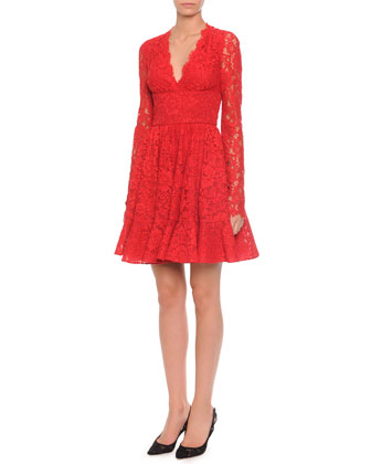 Fringe-Trimmed Lace Flounce Dress, Red