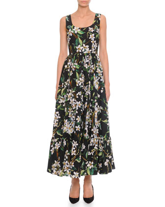 Floral-Print Long Tank Dress, Black Multi
