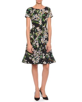 Floral-Print Flounce-Hem Dress, Black Multi