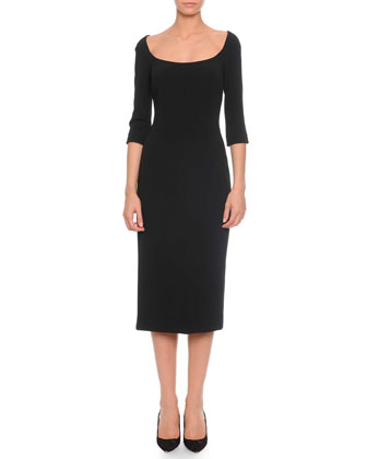 Three-Quarter-Sleeve Crepe Midi Dress, Black