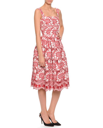 Bicolor Floral Lace A-Line Dress, Red/White