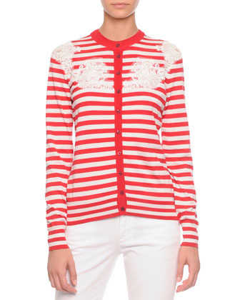 Striped Lace-Inset Cardigan, Red/White
